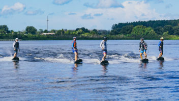 Jetsurf riders on the lake